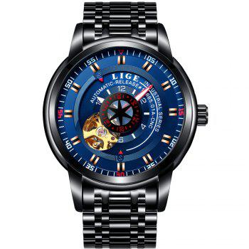 LIGE 9824 4838 Business Casual Men Automatic Mechanical Steel Band Watch - BLACK AND BLUE BLACK/BLUE