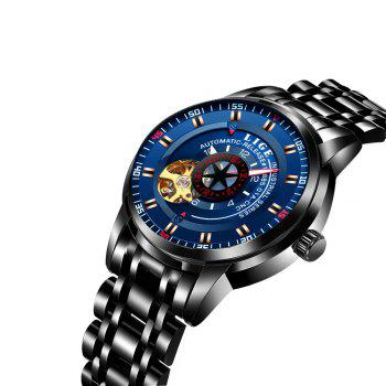 LIGE 9824 4838 Business Casual Men Automatic Mechanical Steel Band Watch - BLACK/BLUE