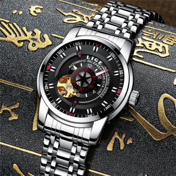 LIGE 9824 4838 Business Casual Men Automatic Mechanical Steel Band Watch - SILVER/BLACK