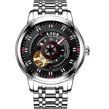 LIGE 9824 4838 Business Casual Men Automatic Mechanical Steel Band Watch - SILVER AND BLACK SILVER/BLACK