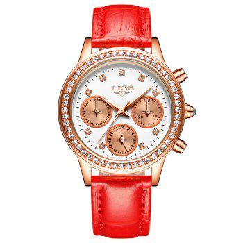 LIGE 9805 4861 Fashionable Casual Leather Band Women Quartz Watch - RED RED
