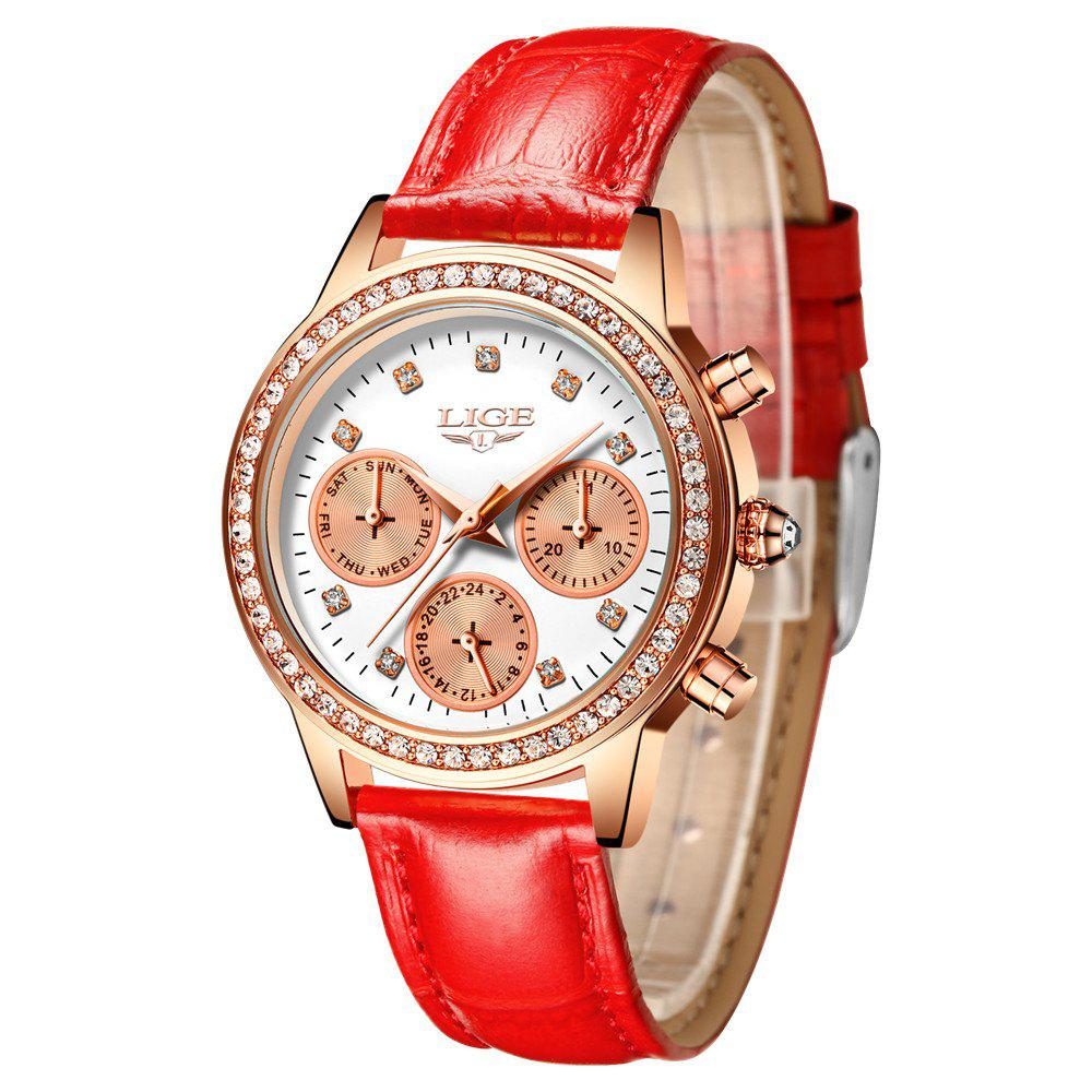LIGE 9805 4861 Fashionable Casual Leather Band Women Quartz Watch - RED