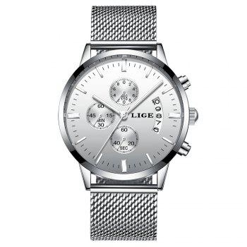 LIGE 9820 4862 Fashionable Women Steel Band Quartz Watch with Calendar - SILVER AND WHITE SILVER/WHITE