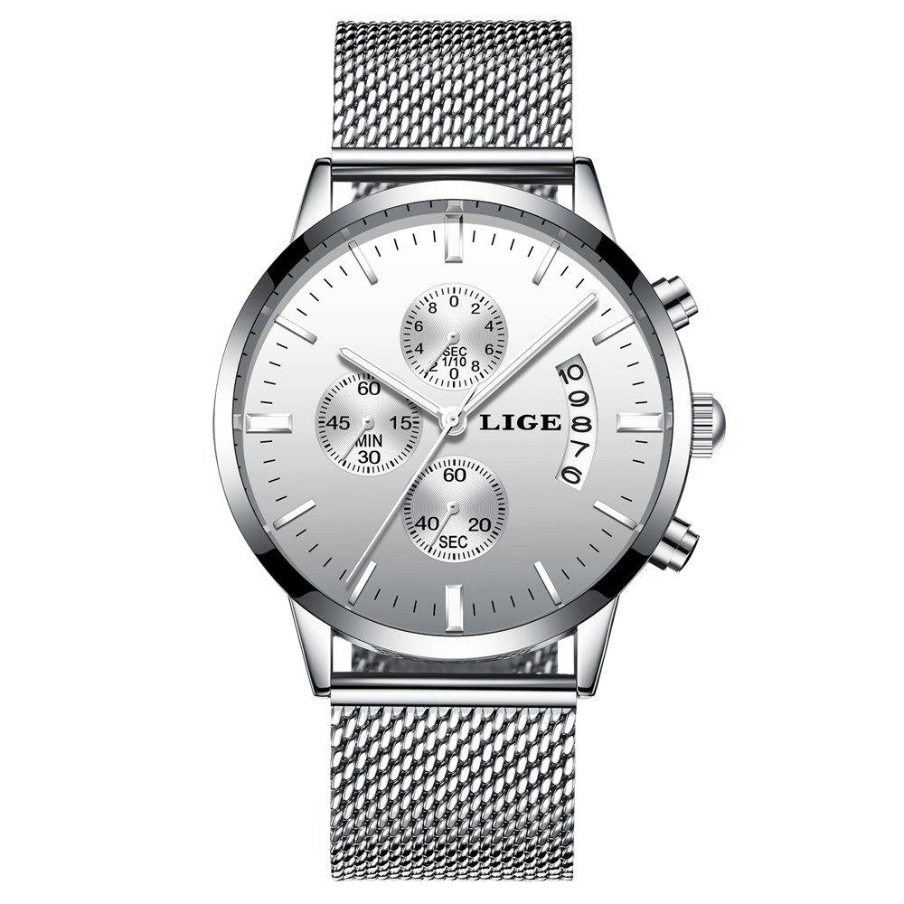 LIGE 9820 4862 Fashionable Women Steel Band Quartz Watch with Calendar - SILVER/WHITE