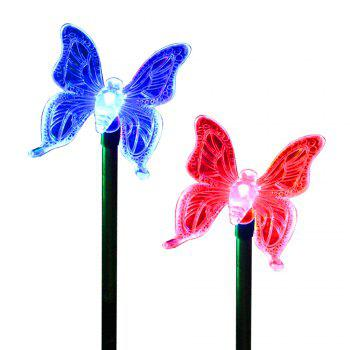 2PCS Solar Color-Changing Butterfly Garden Stake Light - RGB RGB