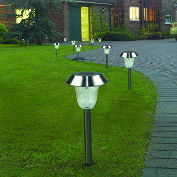 Stainless Steel 1 - LED Solar Lawn Light Pathway Garden Lamp 8PCS -  WHITE LIGHT