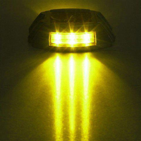 Aluminum Solar 6 - LED Outdoor Road Driveway Dock Path Ground Light Lamp - YELLOW LIGHT