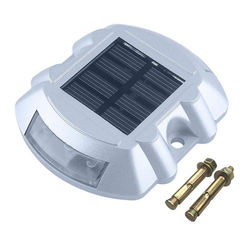 Aluminum Solar 6 - LED Outdoor Road Driveway Dock Path Ground Light Lamp - GREEN LIGHT
