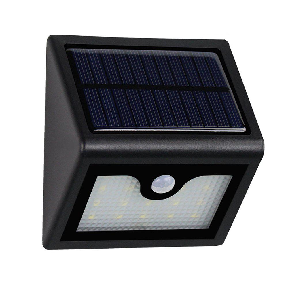 Super Bright 16LEDs Waterproof Solar Powered Light PIR Motion Sensor Outdoor Garden Patio Path Wall Mount Fence Security Lamp - WHITE LIGHT
