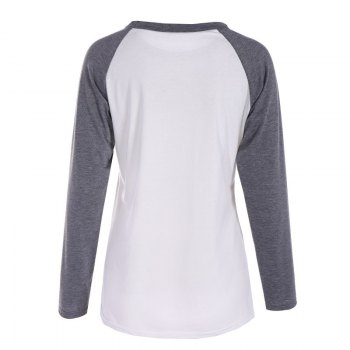 Gray and White Print  T-shirt - GRAY L