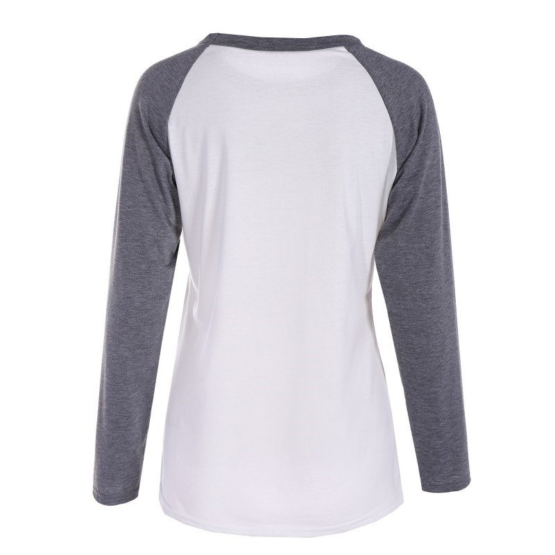 Gray and White Print  T-shirt - GRAY M