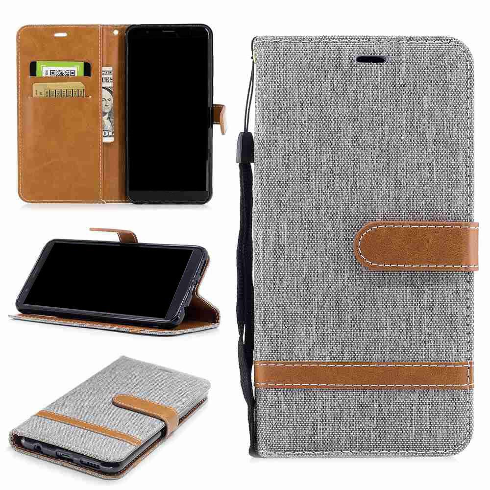 Spell Color Denim Phone Case for HUAWEI Honor 7X - GRAY