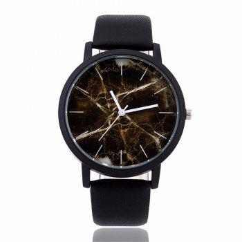 Fashionable Creative Leather Band Unisex Quartz Watch - BLACK BLACK