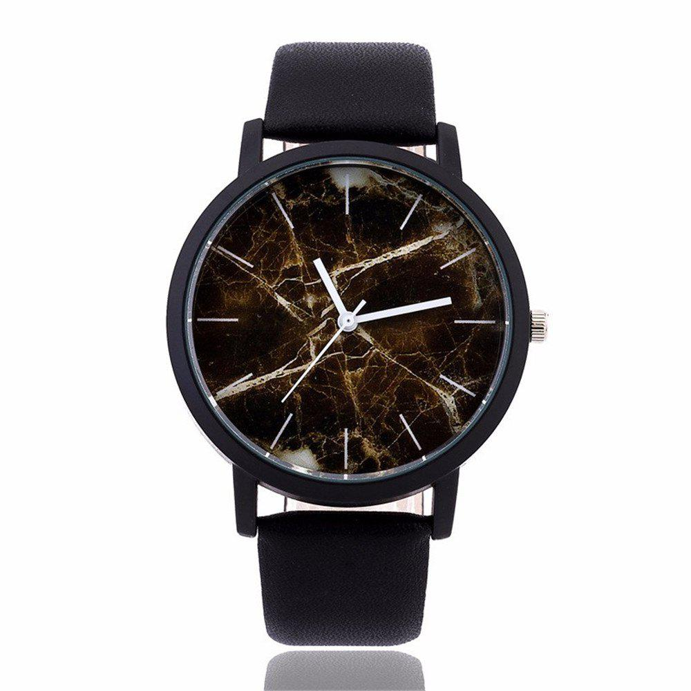 Fashionable Creative Leather Band Unisex Quartz Watch - BLACK STYLE1