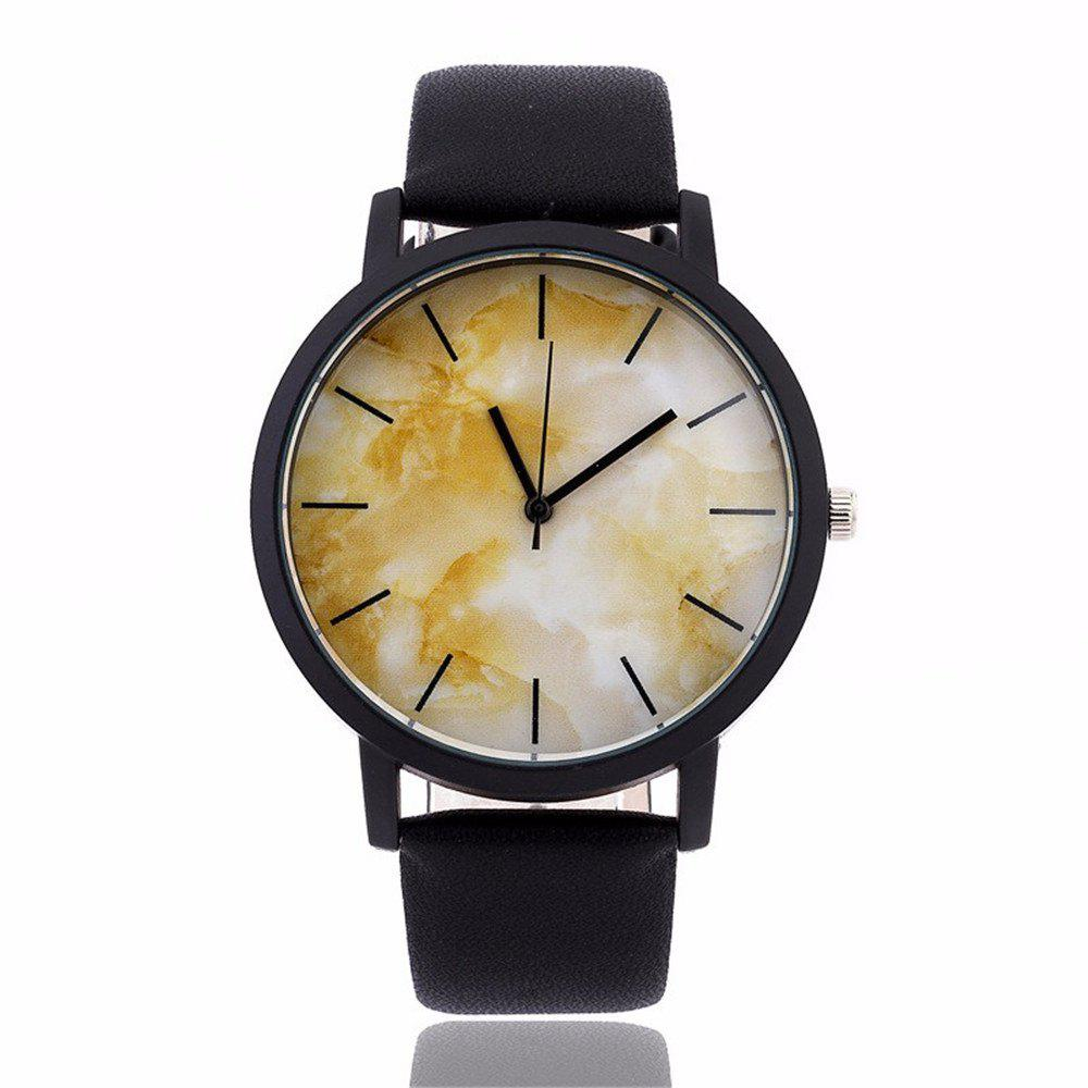 Fashionable Creative Leather Band Unisex Quartz Watch - BLACK STYLE 4