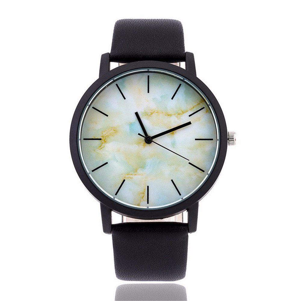 Fashionable Creative Leather Band Unisex Quartz Watch - BLACK STYLE 5