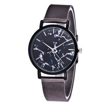 Trendy Casual Stainless Steel Band Unisex Quartz Watch - BLACK BLACK