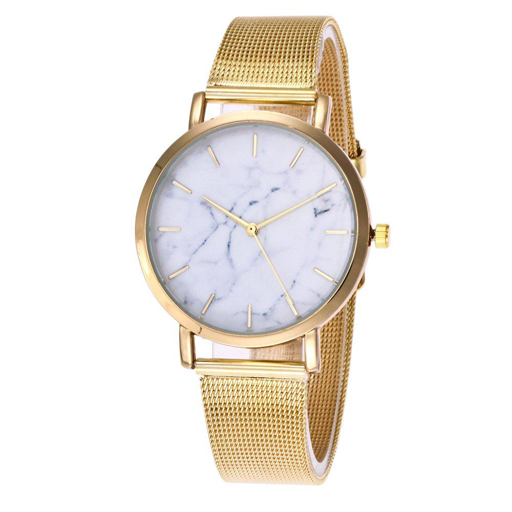 Trendy Casual Stainless Steel Band Unisex Quartz Watch - GOLDEN