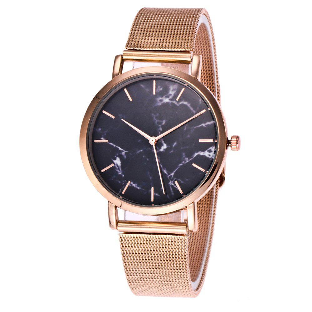 Trendy Casual Stainless Steel Band Unisex Quartz Watch - ROSE GOLD