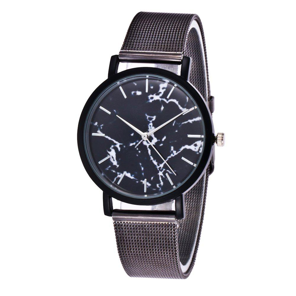 Trendy Casual Stainless Steel Band Unisex Quartz Watch - BLACK