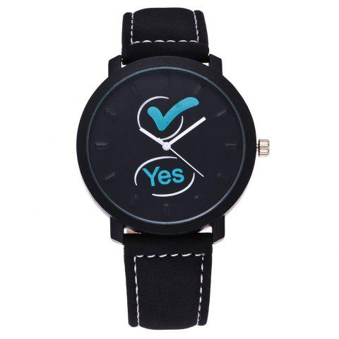 Fashionable Simple Unisex Leather Band Ouartz Wristwatch - BLACK