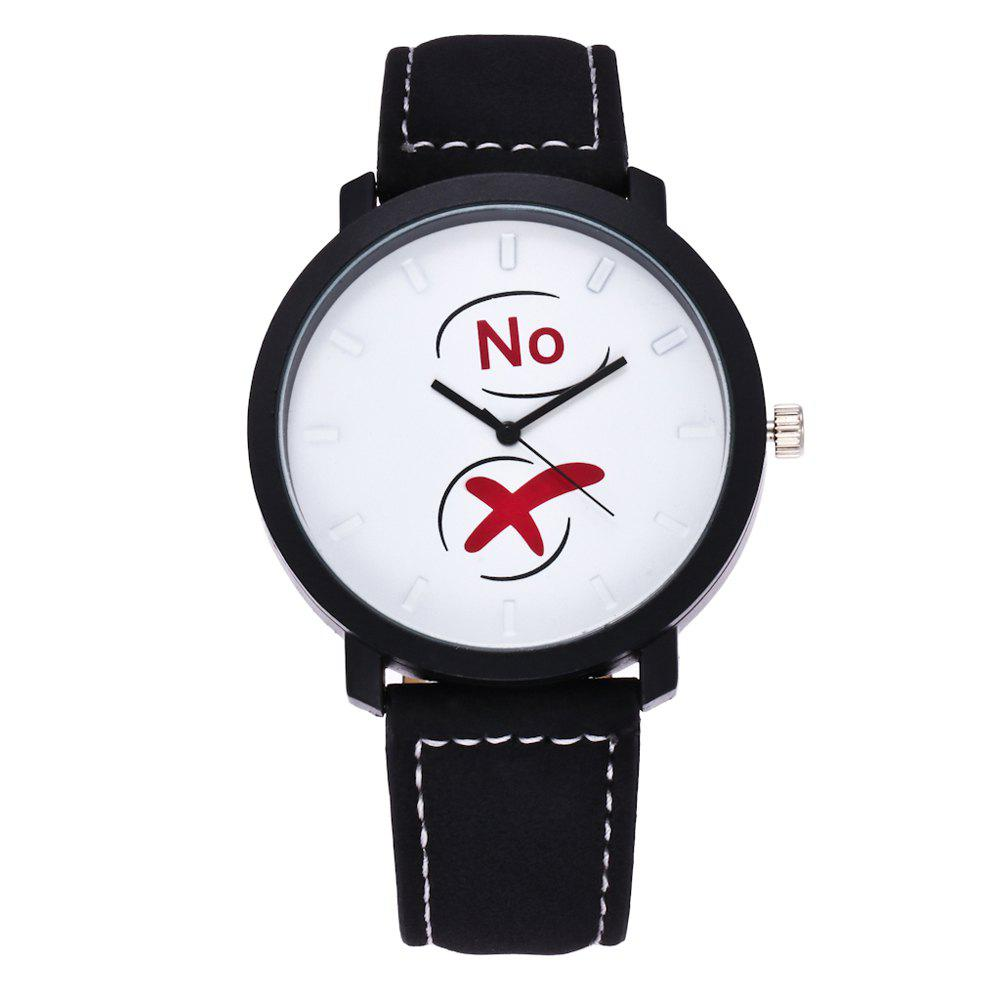 Fashionable Simple Unisex Leather Band Ouartz Wristwatch - BLACK WHITE