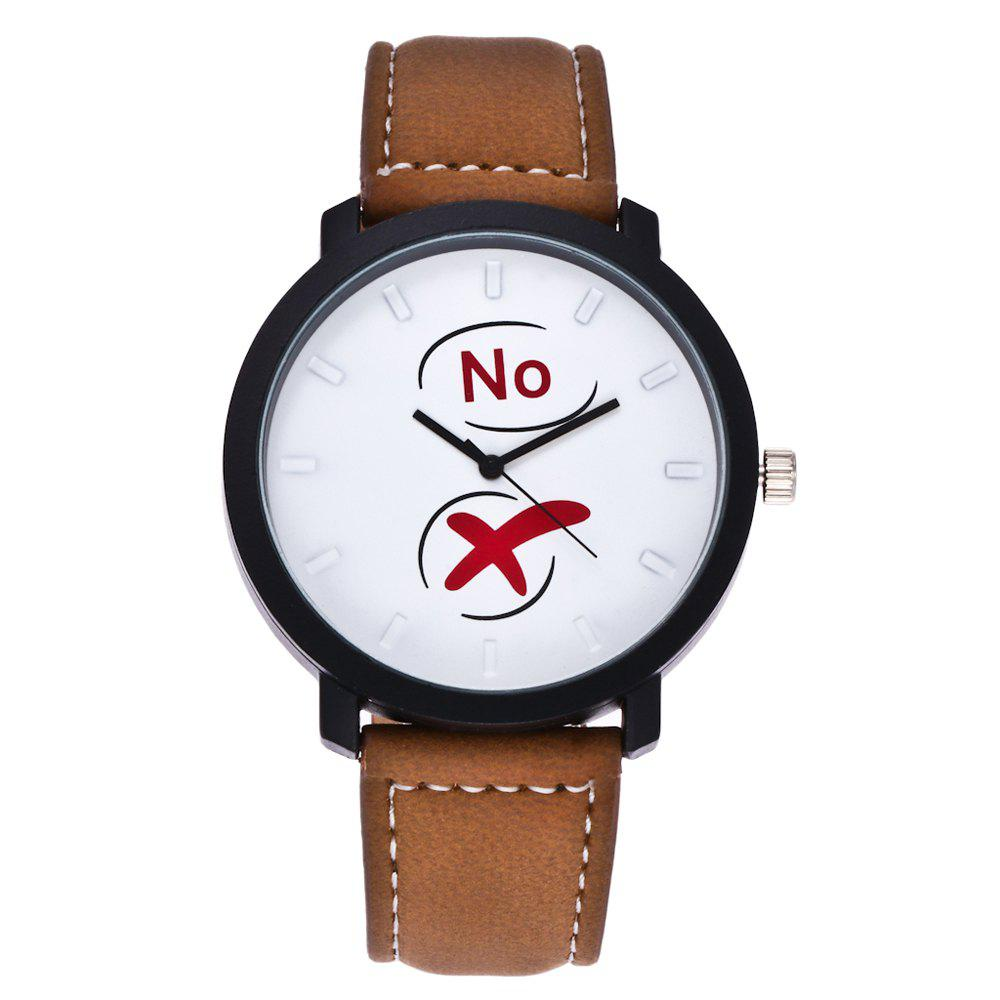 Fashionable Simple Unisex Leather Band Ouartz Wristwatch - BROWN
