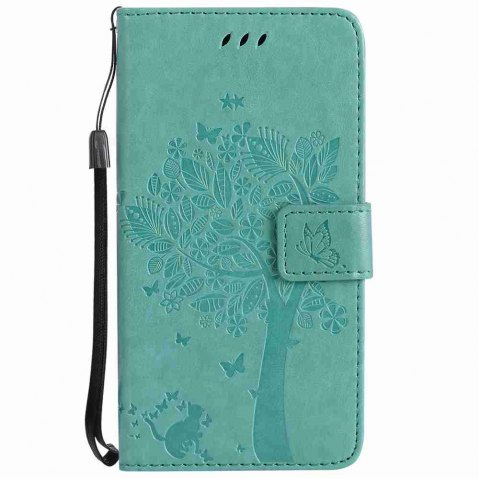 Embossed Cat and Tree PU TPU Phone Case for HUAWEI P8 Lite 2017 - GREEN