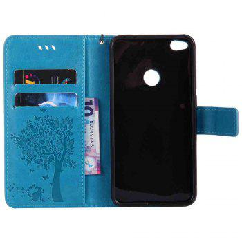 Embossed Cat and Tree PU TPU Phone Case for HUAWEI P8 Lite 2017 -  BLUE