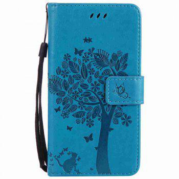 Embossed Cat and Tree PU TPU Phone Case for HUAWEI P8 Lite 2017 - BLUE BLUE