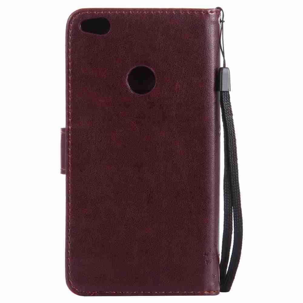 Embossed Cat and Tree PU TPU Phone Case for HUAWEI P8 Lite 2017 - BROWN