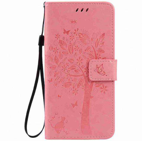Embossed Cat and Tree PU TPU Phone Case for iPhone 7 Plus / 8  Plus - PINK