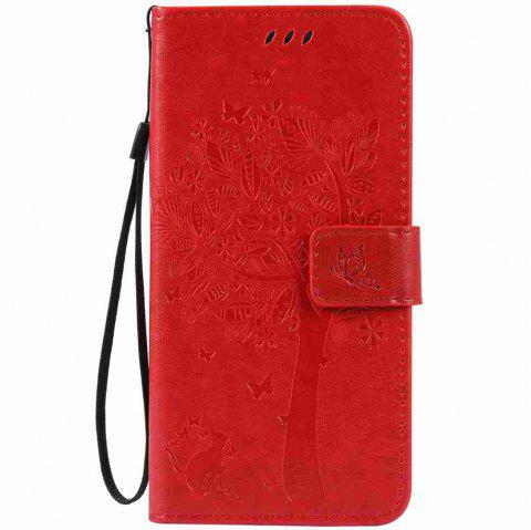 Embossed Cat and Tree PU TPU Phone Case for iPhone 7 Plus / 8  Plus - BRIGHT RED