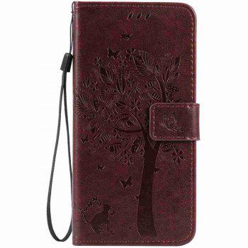 Embossed Cat and Tree PU TPU Phone Case for iPhone 7 Plus / 8  Plus - BROWN BROWN
