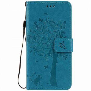 Embossed Cat and Tree PU TPU Phone Case for iPhone 7 Plus / 8  Plus - BLUE BLUE