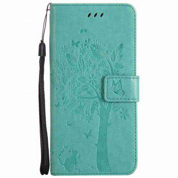 Embossed Cat and Tree PU TPU Phone Case for iPhone 7 Plus / 8  Plus - GREEN GREEN