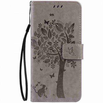 Embossed Cat and Tree PU TPU Phone Case for iPhone 7 Plus / 8  Plus - GRAY GRAY