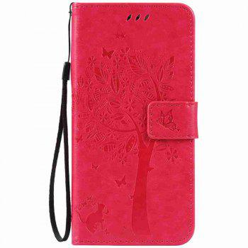 Embossed Cat and Tree PU TPU Phone Case for iPhone 7 Plus / 8  Plus - ROSE RED ROSE RED