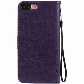 Embossed Cat and Tree PU TPU Phone Case for iPhone 7 Plus / 8  Plus - PURPLE