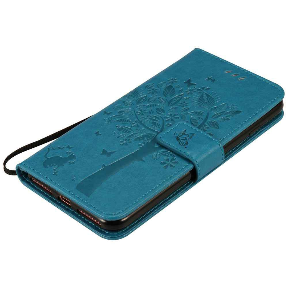 Embossed Cat and Tree PU TPU Phone Case for iPhone 7 Plus / 8  Plus - BLUE