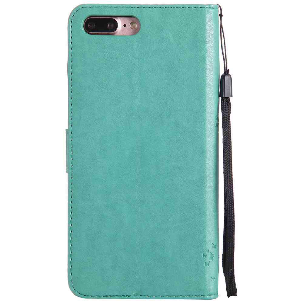Embossed Cat and Tree PU TPU Phone Case for iPhone 7 Plus / 8  Plus - GREEN