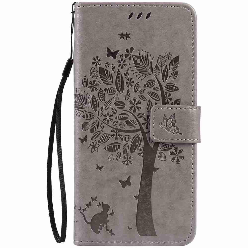 Embossed Cat and Tree PU TPU Phone Case for iPhone 7 Plus / 8  Plus - GRAY