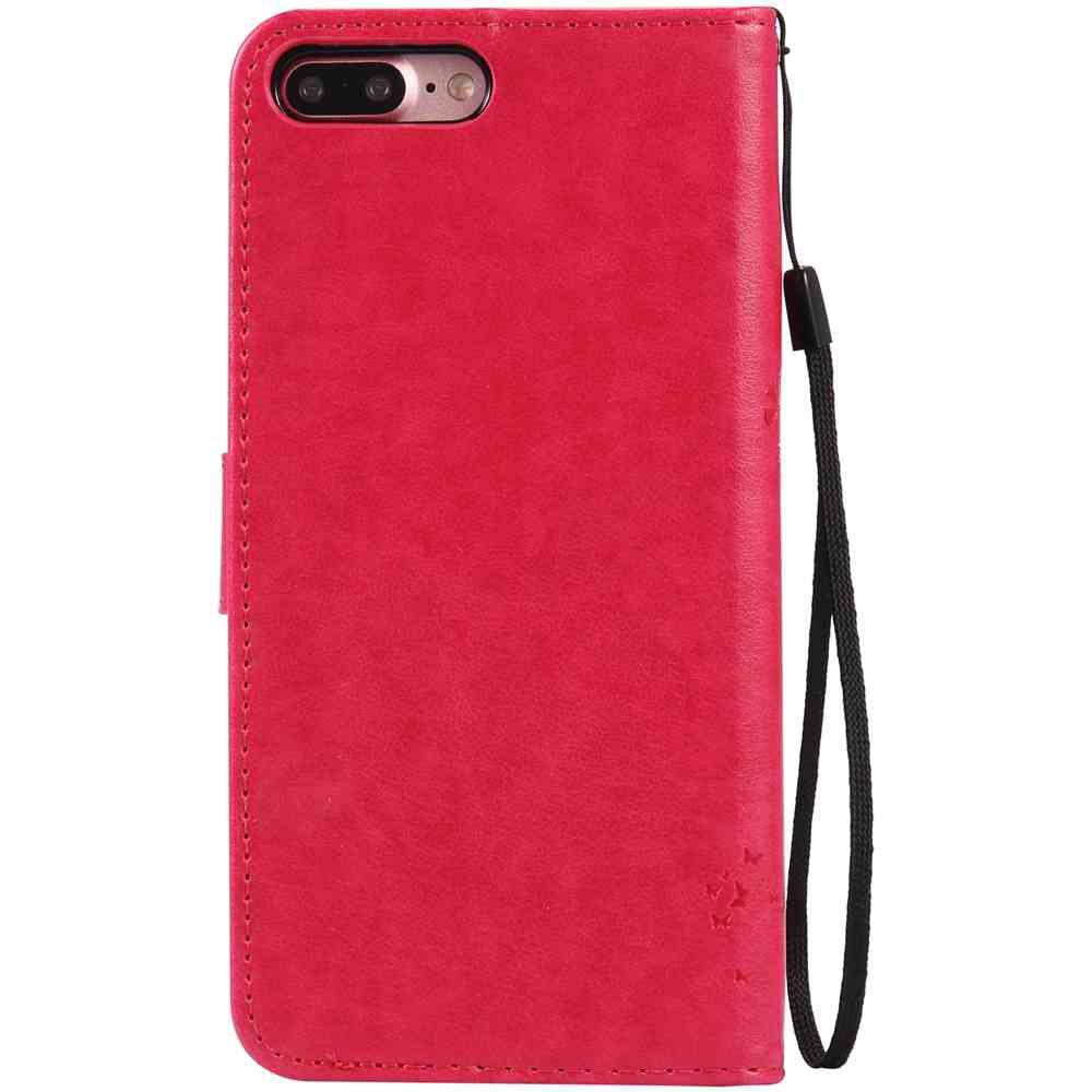 Embossed Cat and Tree PU TPU Phone Case for iPhone 7 Plus / 8  Plus - ROSE RED