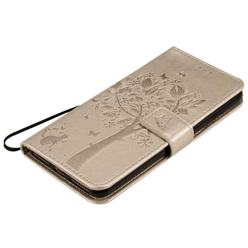 Embossed Cat and Tree PU TPU Phone Case for iPhone 7 Plus / 8  Plus - GOLDEN