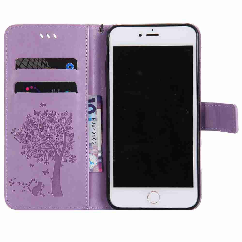 Embossed Cat and Tree PU TPU Phone Case for iPhone 7 Plus / 8  Plus - RADIANT