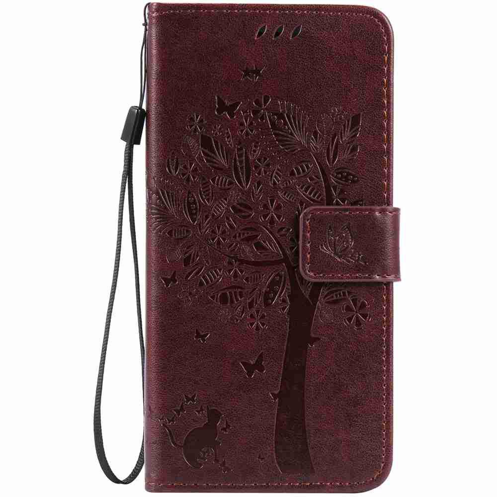 Embossed Cat and Tree PU TPU Phone Case for iPhone 7 Plus / 8  Plus - BROWN