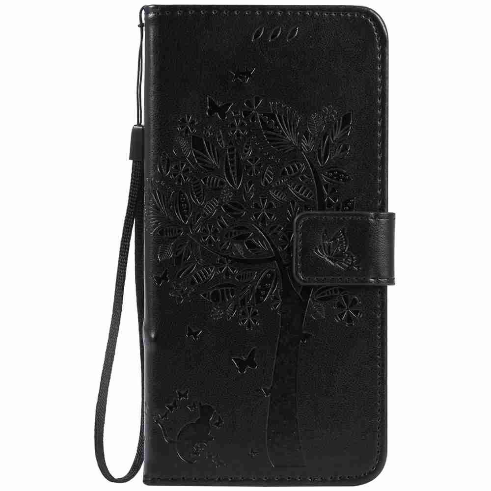 Embossed Cat and Tree PU TPU Phone Case for iPhone 7 Plus / 8  Plus - BLACK