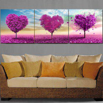 Frameless Voilet Heart Shaped Trees Oil Paintings On Canvas 3 PCS - COLORFUL COLORFUL