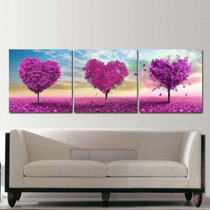 Frameless Voilet Heart Shaped Trees Oil Paintings On Canvas 3 PCS - COLORFUL 15 X 15 INCH (40CM X 40CM)