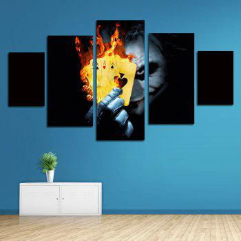 Unframed Wall Art Canvas Prints Clown Playing Burning Poker Terror 5 Panels - COLORFUL 12 X 35 INCH (30CM X 90CM)